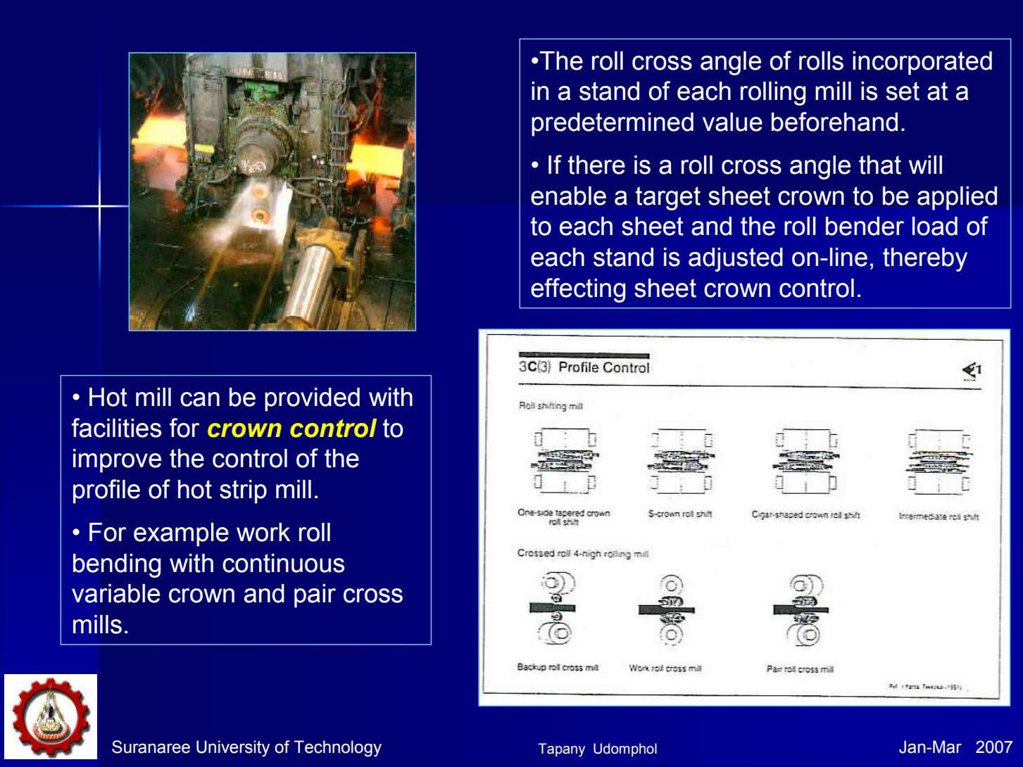 •The roll cross angle of rolls incorporated in a stand of each rolling mill is
