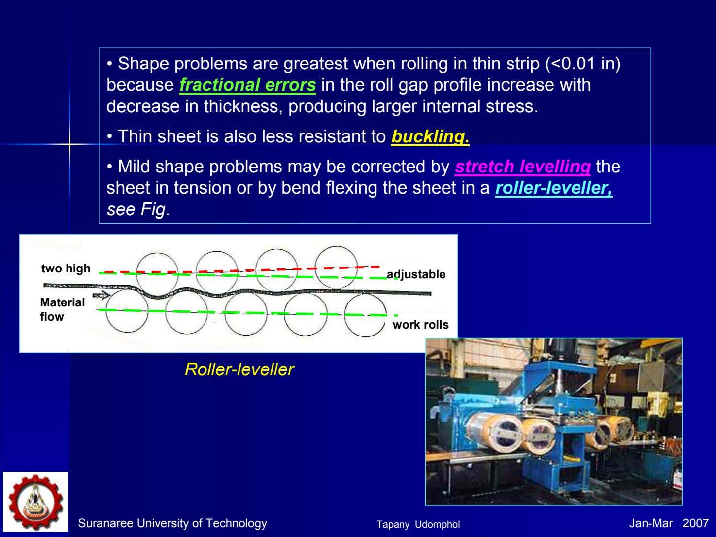 • Shape problems are greatest when rolling in thin strip (<0.01 in) because fractional errors