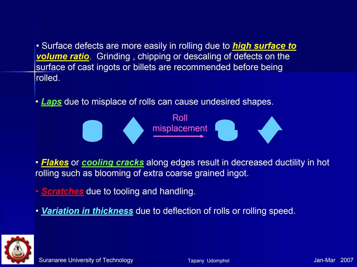 • Surface defects are more easily in rolling due to high surface to volume ratio.