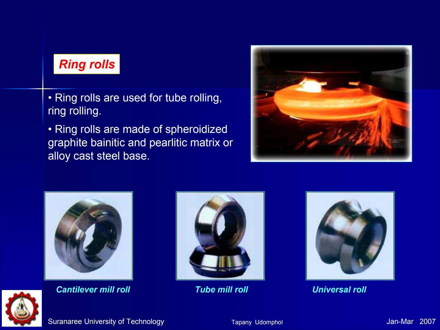 Ring rolls • Ring rolls are used for tube rolling, ring rolling. • Ring rolls