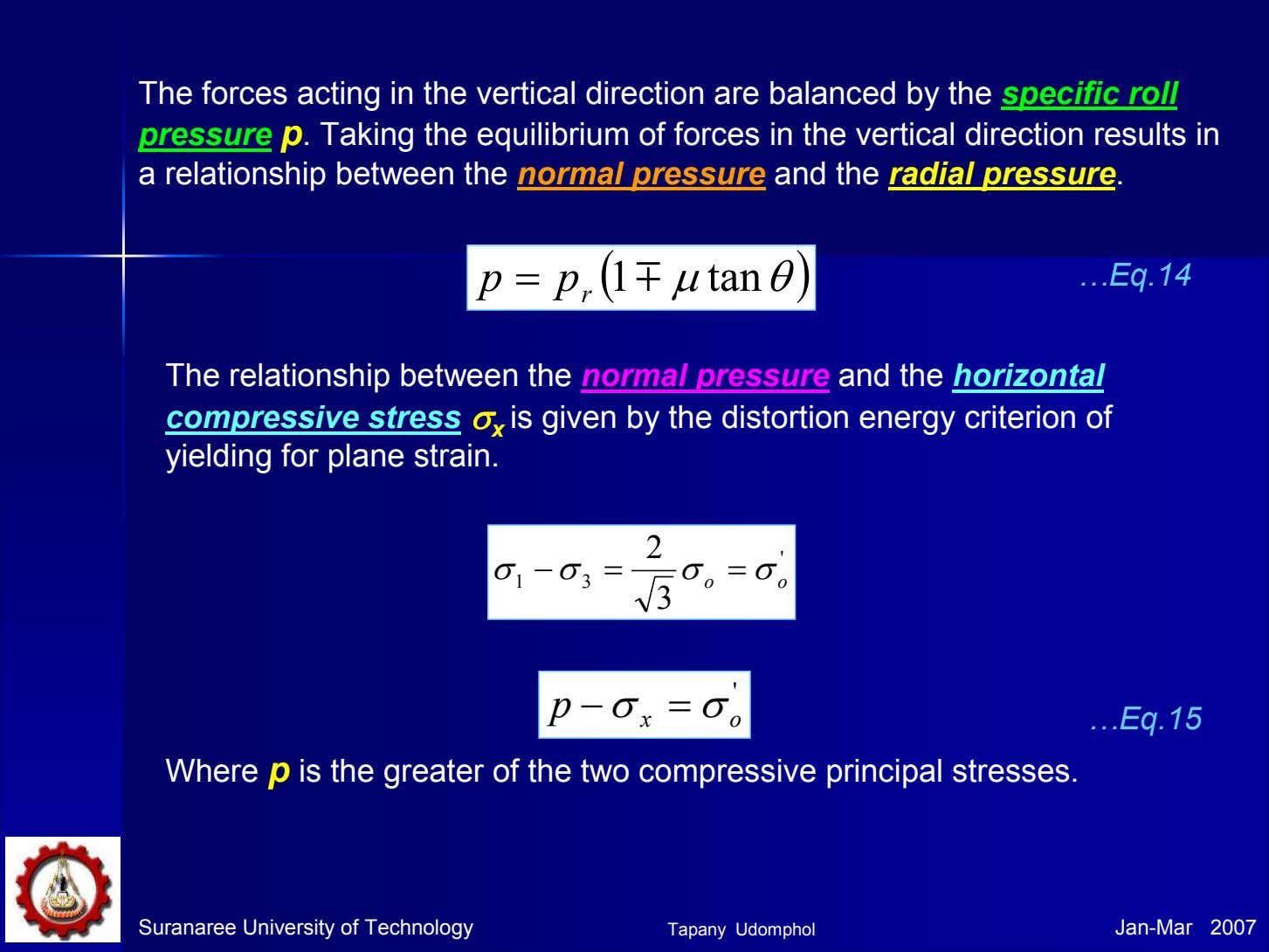 The forces acting in the vertical direction are balanced by the specific roll pressure p.