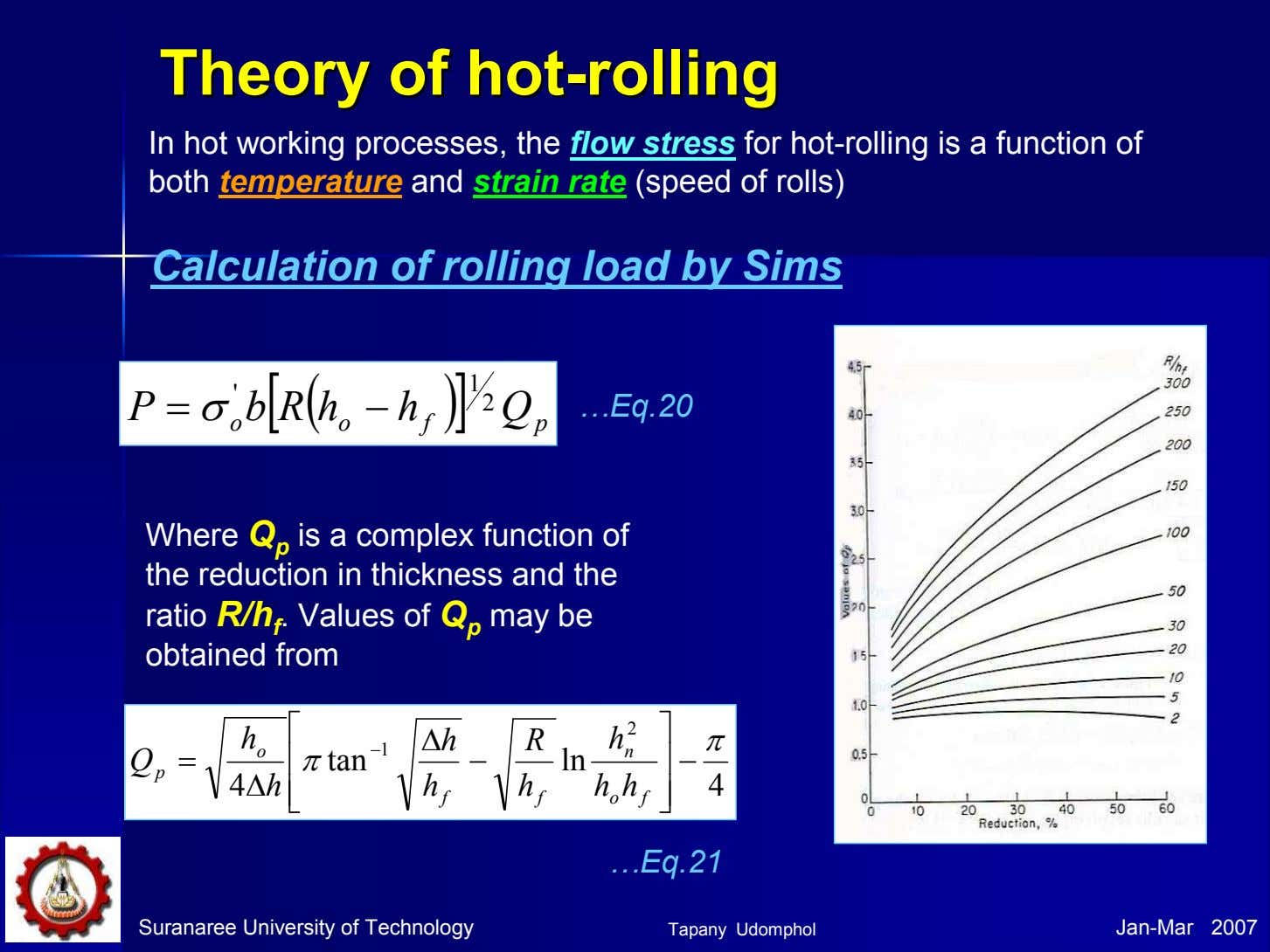 TheoryTheory ofof hothot--rollingrolling In hot working processes, the flow stress for hot-rolling is a function