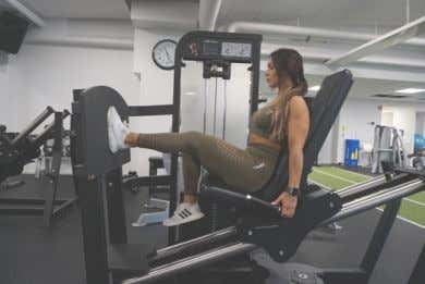 EXERCISE LIBRARY: WEEK 2 DAY 3 Seated Single Leg High Stance Leg Press DB 1 1/4