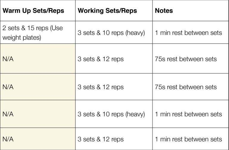 15 reps (Use weight plates) Working Sets/Reps 3 sets & 10 reps (heavy) Notes 1 min