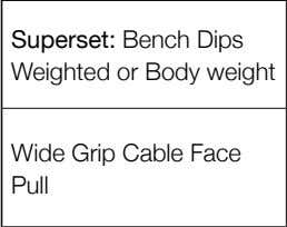 or Body weight Warm Up Sets/Reps 2 sets & 15 reps N/A N/A N/A N/A N/A