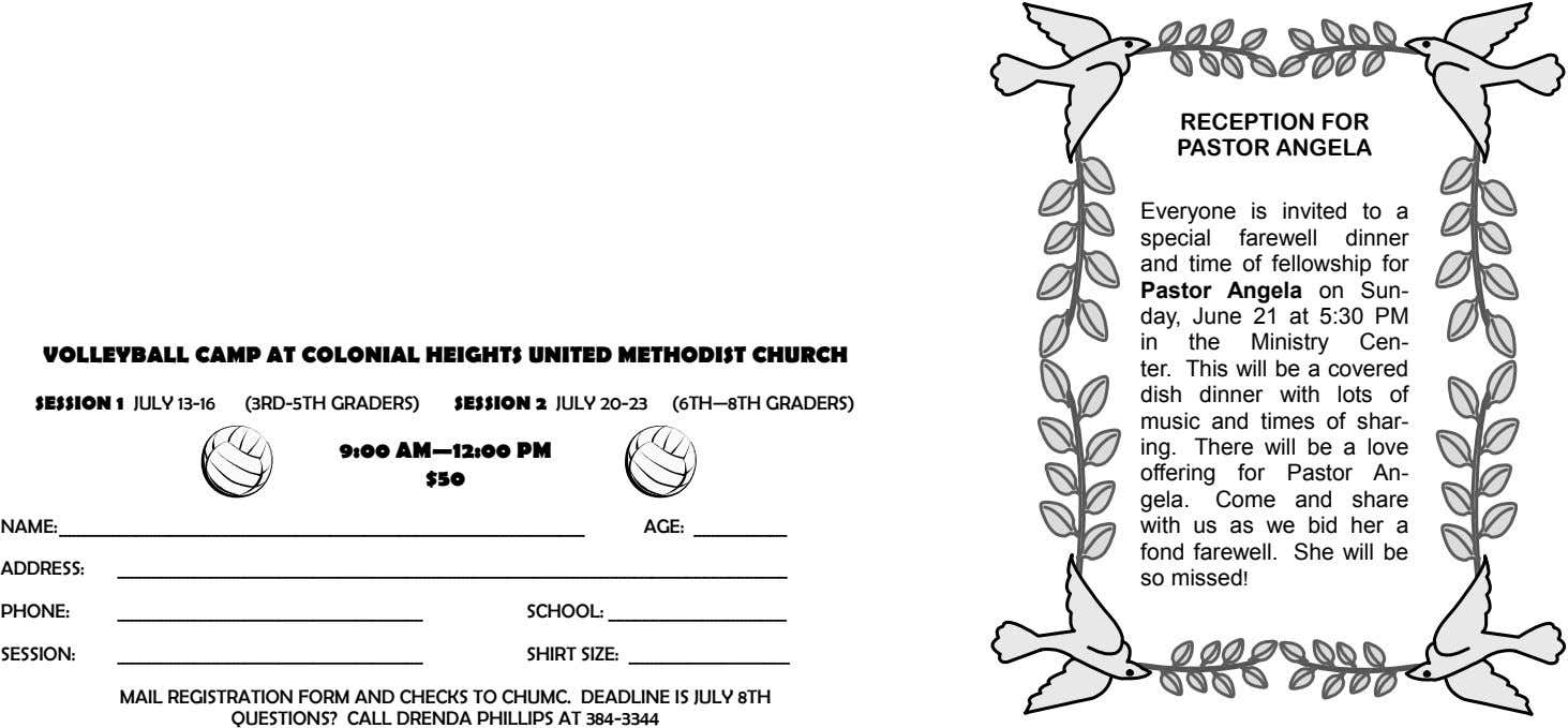 RECEPTION FOR PASTOR ANGELA VOLLEYBALL CAMP AT COLONIAL HEIGHTS UNITED METHODIST CHURCH SESSION 1 JULY