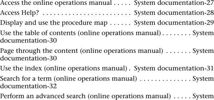 Access the online operations manual Access Help? . Display and use the procedure map . .