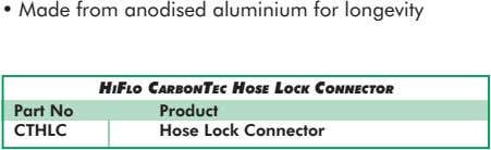 • Made from anodised aluminium for longevity HIFLO CARBONTEC HOSE LOCK CONNECTOR Part No Product
