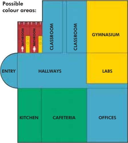 Possible colour areas: GYMNASIUM ENTRY HALLWAYS LABS KITCHEN CAFETERIA OFFICES BATHROOM BATHROOM CLASSROOM