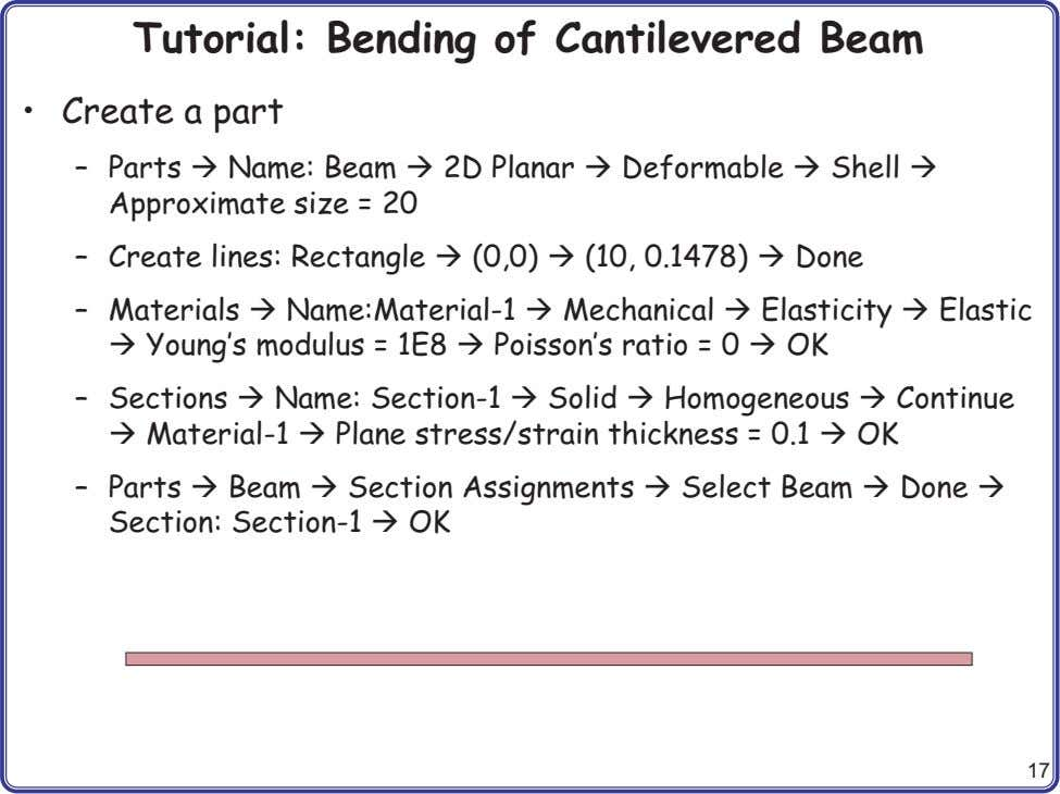 Tutorial: Bending of Cantilevered Beam • Create a part – Parts Name: Beam 2D Planar