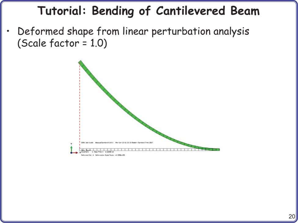 Tutorial: Bending of Cantilevered Beam • Deformed shape from linear perturbation analysis (Scale factor =
