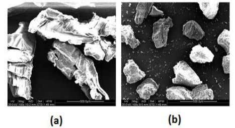 ball mill are shown in Figure 1a and 1b respectively. FIGURE 1 SEM MICROGRAPHS OF (a)