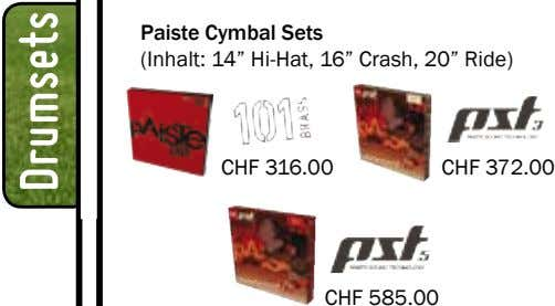 "Paiste Cymbal Sets (Inhalt: 14"" Hi-Hat, 16"" Crash, 20"" Ride) CHF 316.00 CHF 372.00 CHF"