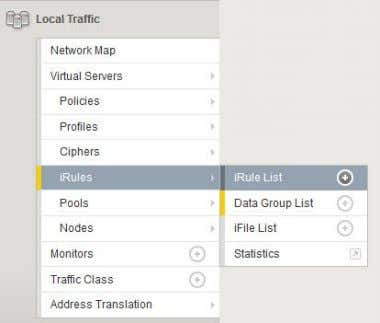 Local Traffic – IRules – IRule List – <Create> Assign name and set the following code