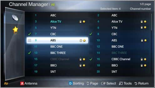 Channel❑Manager 1/2❑page All Selected❑item:❑4❑ Channel❑number Air❑ A ❑ Antenna❑ D ❑
