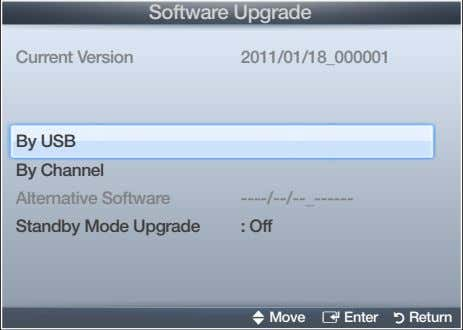 Software❑Upgrade Current❑Version 2011/01/18_000001 By❑USB By❑Channel Alternative❑Software
