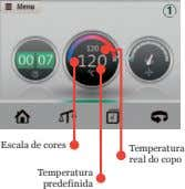 1 Escala de cores Temperatura real do copo Temperatura predefinida