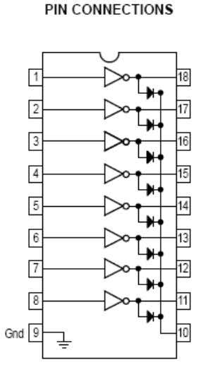 ULN2803 High voltageHigh Current Darlington Transistor Array The eight NPN Darlington connected transistors in this family