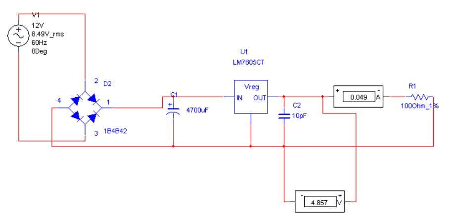 Power Supply REGULATOR IC (78XX) It is a three pin IC used as a voltage regulator.