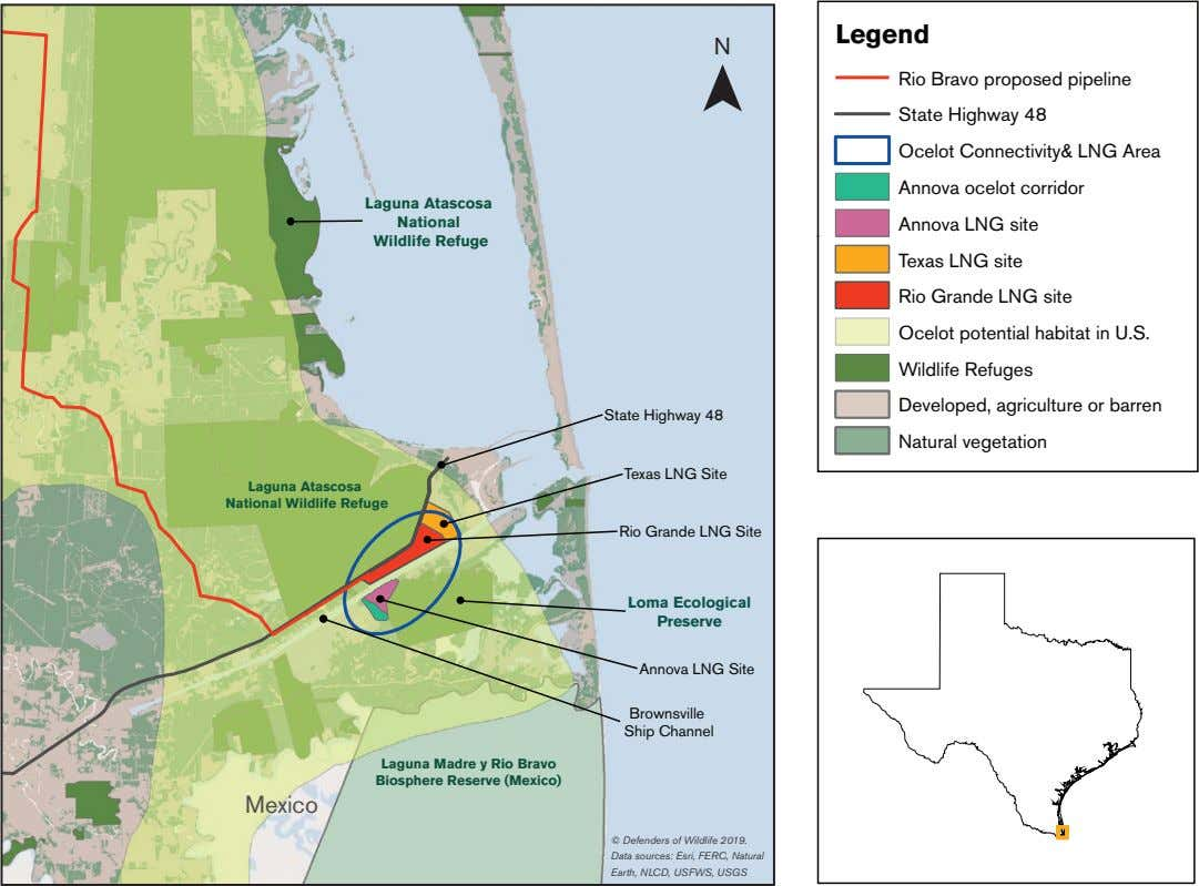 Legend N Laguna Atascosa National Wildlife Refuge State Highway 48 Rio Bravo proposed pipeline State