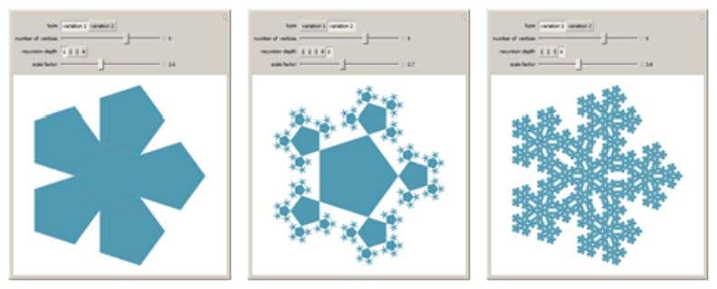 siguientes fractales a fin de analizar sus transformaciones. n-Flakes http://demonstrations.wolfram.com/NFlakes/ 2