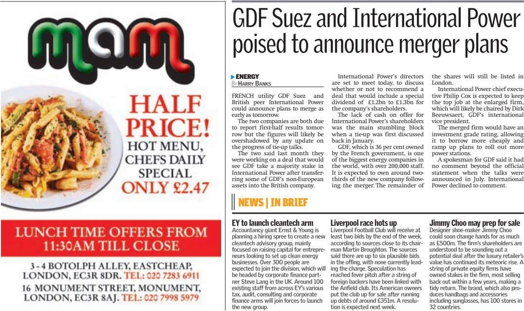 GDF Suez and International Power poised to announce merger plans ▲ ENERGY BY HARRY BANKS