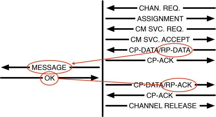 CHAN. REQ. ASSIGNMENT CM SVC. REQ. CM SVC. ACCEPT CP-DATA/RP-DATA CP-ACK MESSAGE OK CP-DATA/RP-ACK CP-ACK