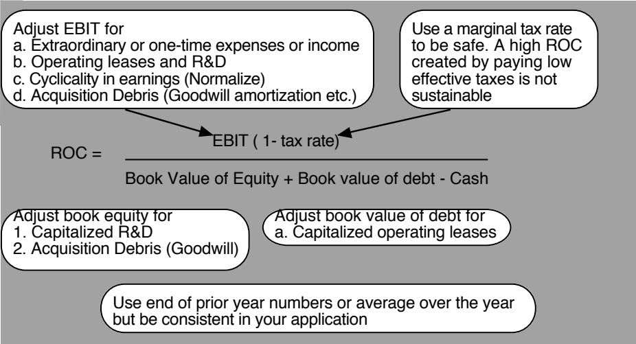 Adjust EBIT for Use a marginal tax rate a. Extraordinary or one-time expenses or income