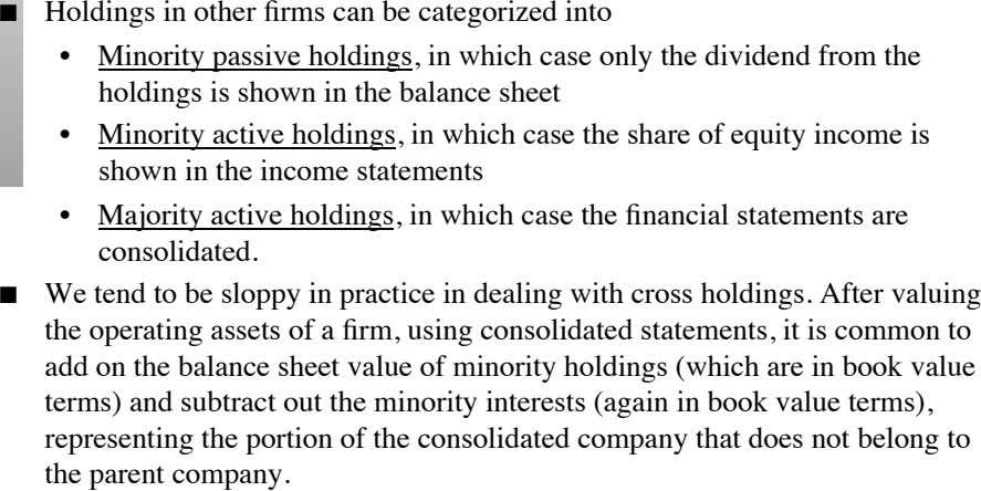          Holdings in other firms can be categorized into Minority passive