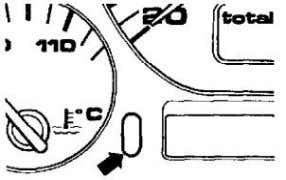 ignition ON. - Press and hold odometer reset button (arrow). - While holding odometer reset button,