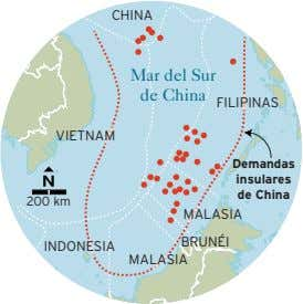 CHINA Mar del Sur de China FILIPINAS VIETNAM Demandas insulares de China 200 km MALASIA