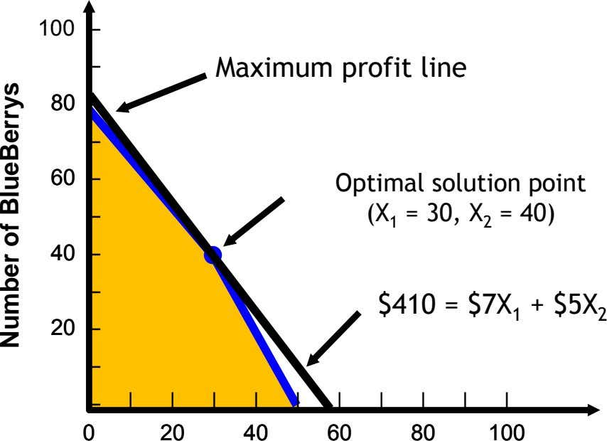 100 – – Maximum profit line 8080 – – 6060 – – Optimal solution point