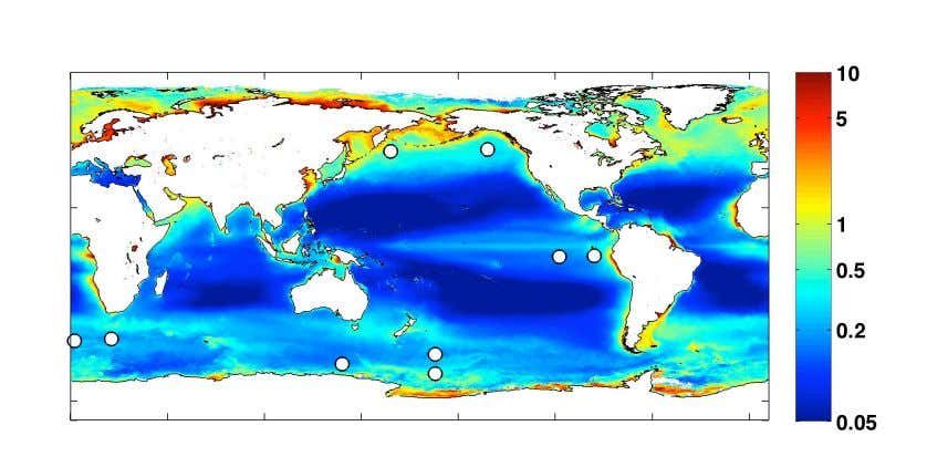 food chain, it might be possible to enhance fish yields. A map of satellite-derived mean annual