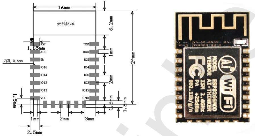 b/g/n Wi-Fi Module V1.1 ESP-12F 802.11 b/g/n Wi-Fi Module Features - The smallest 802.11b/g/n Wi-Fi SOC