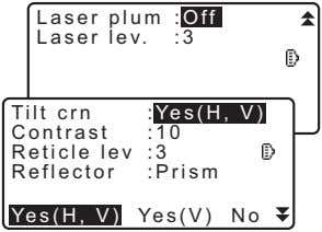 Laser plum : Off Laser lev. :3 Tilt crn Off : Yes(H, V) On Contrast