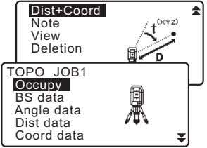 Dist+Coord Note View Deletion TOPO JOB1 Occupy BS data Angle data Dist data Coord data