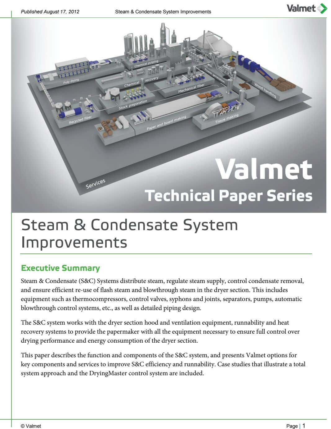 Published August 17, 2012 Steam & Condensate System Improvements Steam & Condensate System Improvements