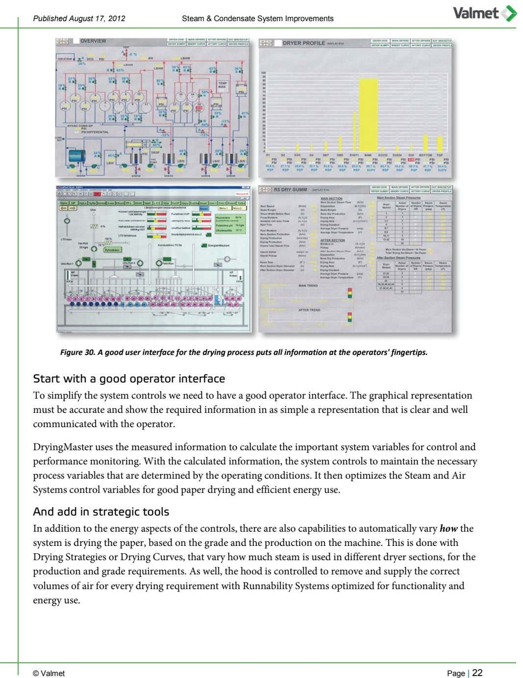Published August 17, 2012 Steam & Condensate System Improvements Figure 30. A good user interface
