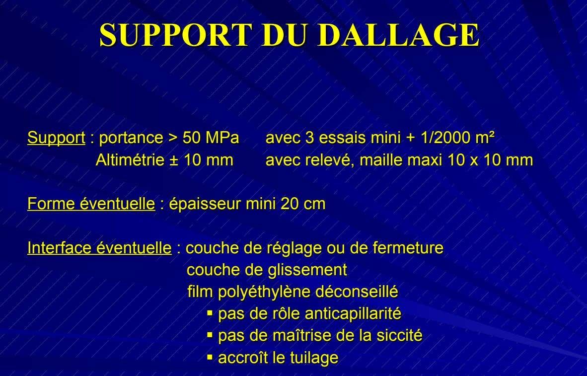 SUPP S UPPORT O RT DU DU DALL DALLAGE A GE Support S upport :