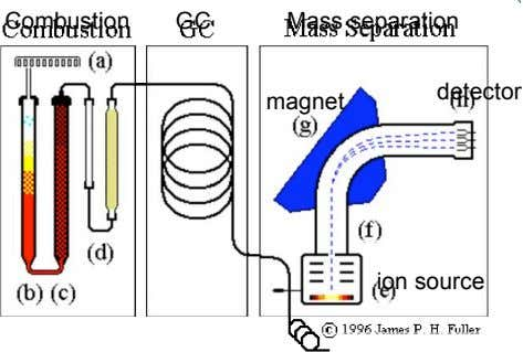 Combustion GC Mass separation detector magnet ion source