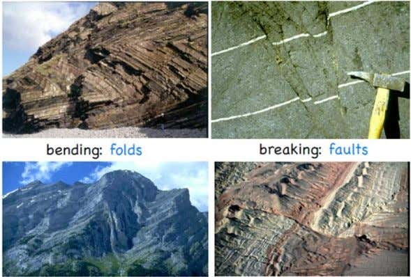 Geological Structures The two most important features that are produced when strata are deformed by earth