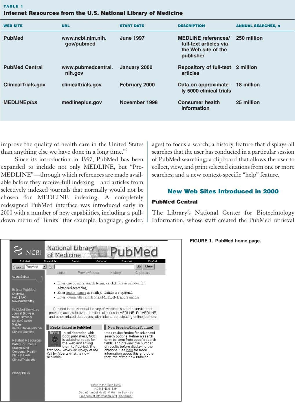 TABLE 1 Internet Resources from the U.S. National Library of Medicine WEB SITE URL START