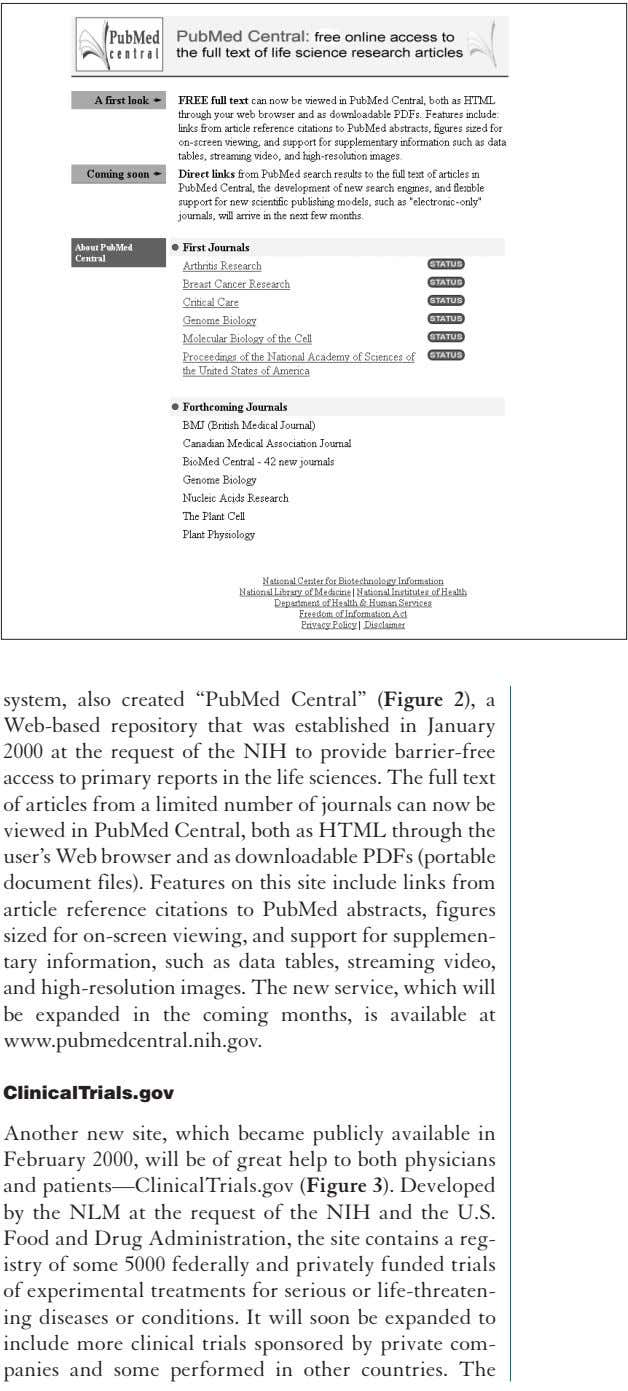 "system, also created ""PubMed Central"" (Figure 2), a Web-based repository that was established in January"