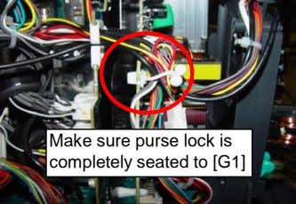 Make sure purse lock is completely seated to [G1]