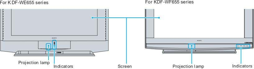 For K DF-WE655 series For KDF-WF655 series PRO POWER STD/DUO LAMP TIMER POWER/STANDBY Projection lamp