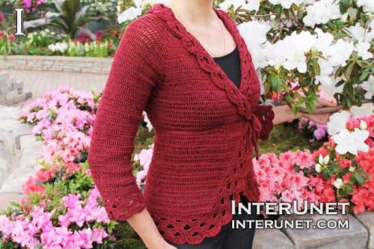 Cardigan Size ­ US 6 Complexity ­ Intermediate Women's cardigan jacket with a tie crochet pattern