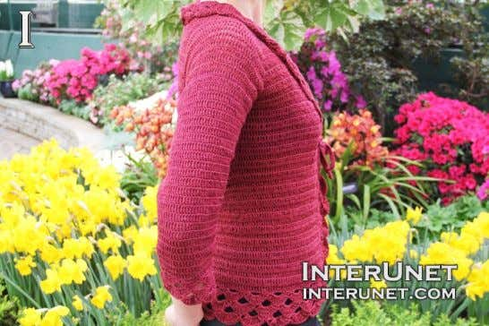 sweater tied using a belt or as loose fitting jacket. Crochet triple stitch cardigan jacket Crochet