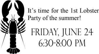 It's time for the 1st Lobster Party of the summer!