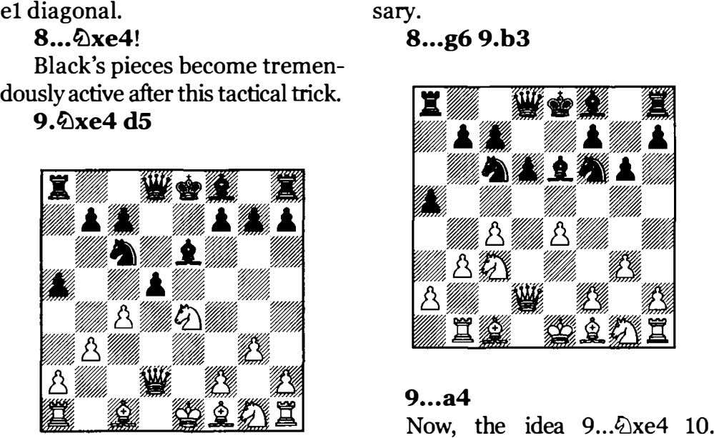 el diagonal. sary. 8 �xe4! 8 ...g6 9.b3 Black's pieces become tremen­ dously active after this