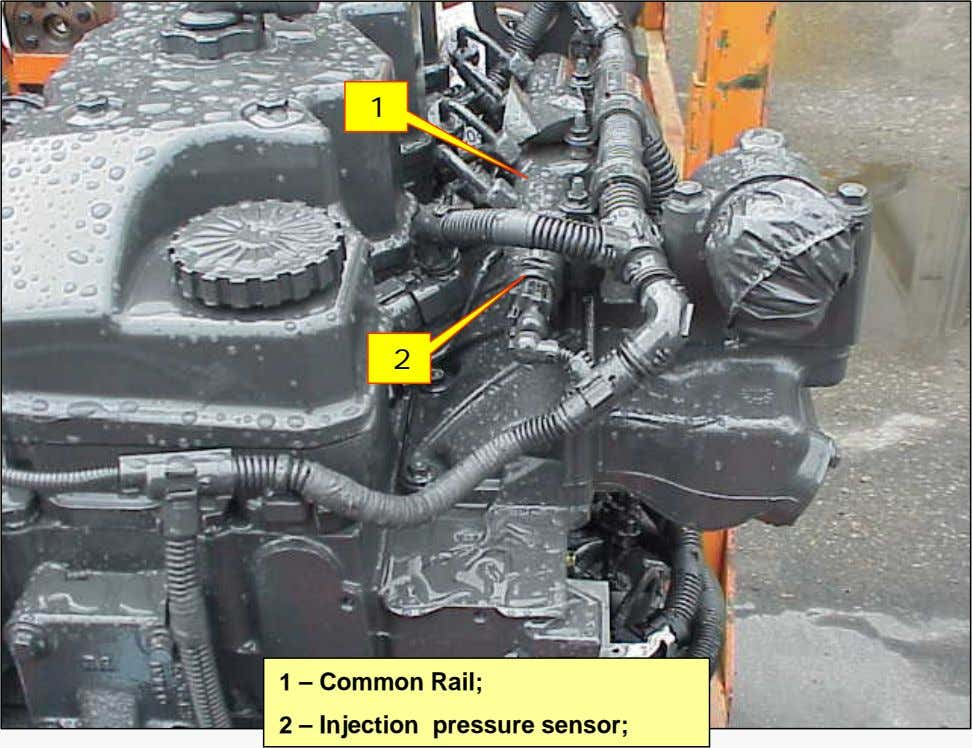 1 2 1 – Common Rail; 2 – Injection pressure sensor;